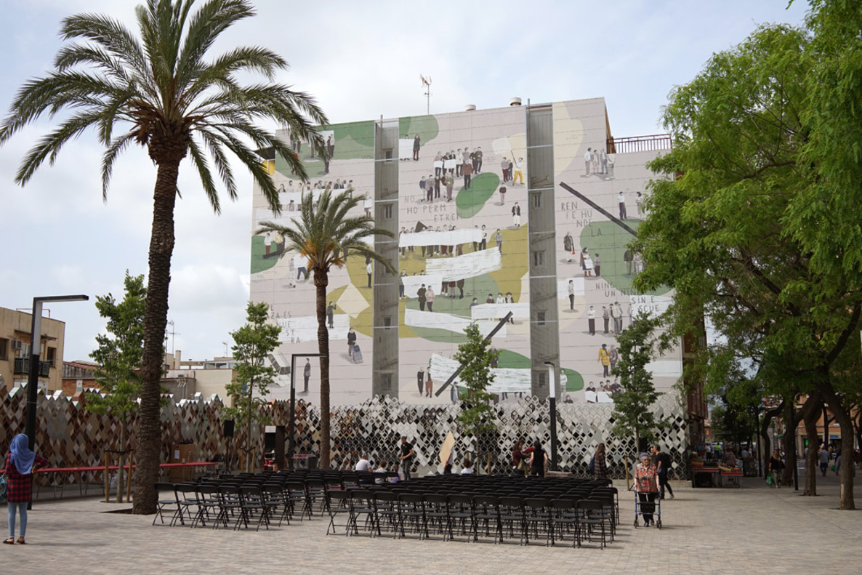 El mural de Escif sobre la lucha vecinal del barrio de La Salut de Sant Feliu de Llobregat