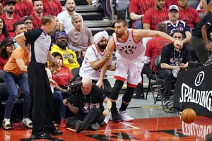 Jun 2 2019 Toronto Ontario CAN Toronto Raptors center Marc Gasol 33 collides with Raptors fan Nav Bhatia during the second quarter in game two of the 2019 NBA Finals at Scotiabank Arena Mandatory Credit Kyle Terada-USA TODAY Sports