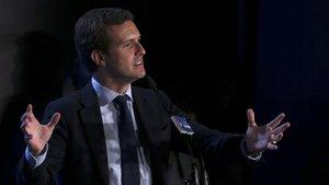 Pablo Casado, el pasado 11 de abril, en el inicio de la campaña electoral del PP.