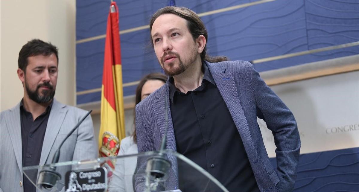 Pablo Iglesias, durante unarueda de prensa.