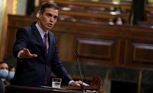 El presidente del Gobierno, Pedro Sánchez, durante su turno de cierre de la moción de censura de Vox, este 22 de octubre en el Congreso.