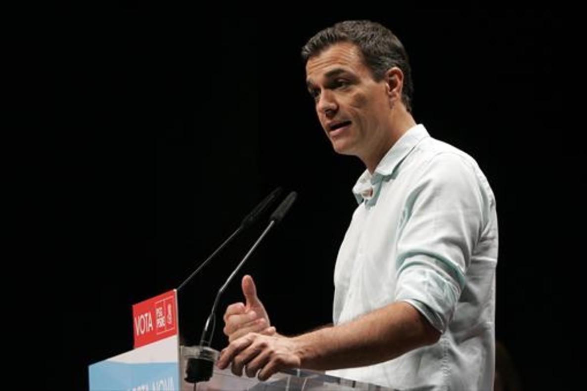 Pedro Sánchez, en un mitin en Galicia, el miércoles pasado.