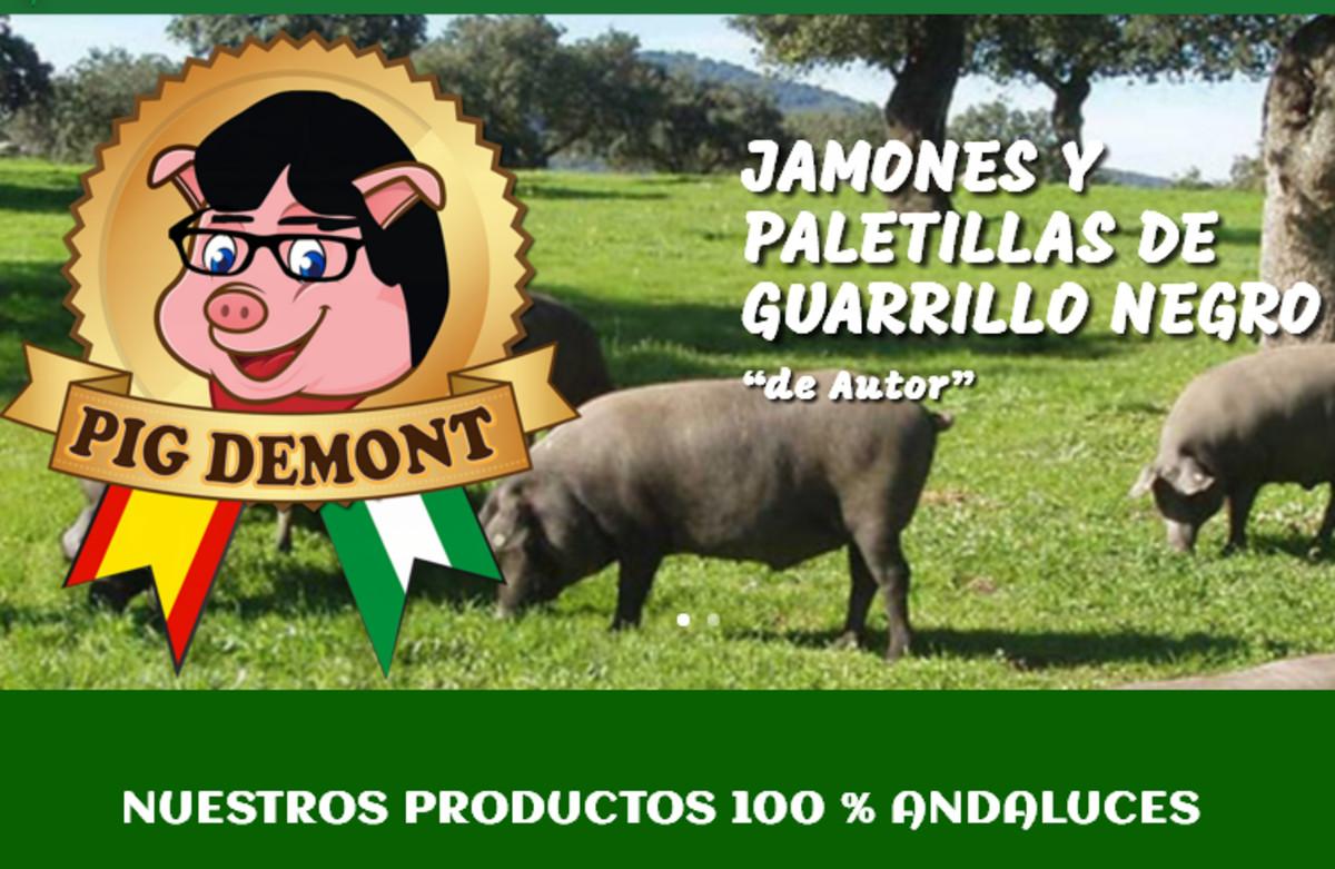 La página web de la tienda Pig Demont, con el logotipo del cerdo con gafas y cabello similar al del expresident.