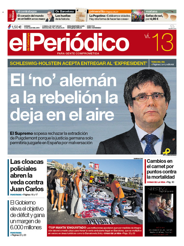 La portada de EL PERIÓDICO del 13 de julio del 2018