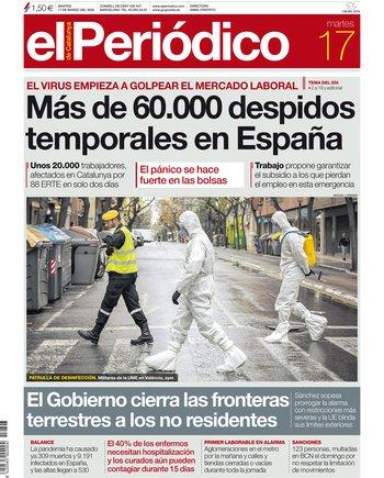 La portada de EL PERIÓDICO del 17 de marzo del 2020.