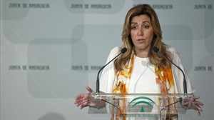 La presidenta en funciones de Andalucía, Susana Díaz, la semana pasada en una rueda de prensa.