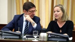 El presidente de Bankia, José Ignacio Goirigolzarri, esta mañana en la comisión de investigación.