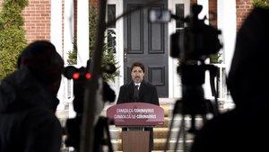 El primer ministro de Canadá Justin Trudeau, el pasado día 10, durante una rueda de prensa para informar sobre el coronavirus.
