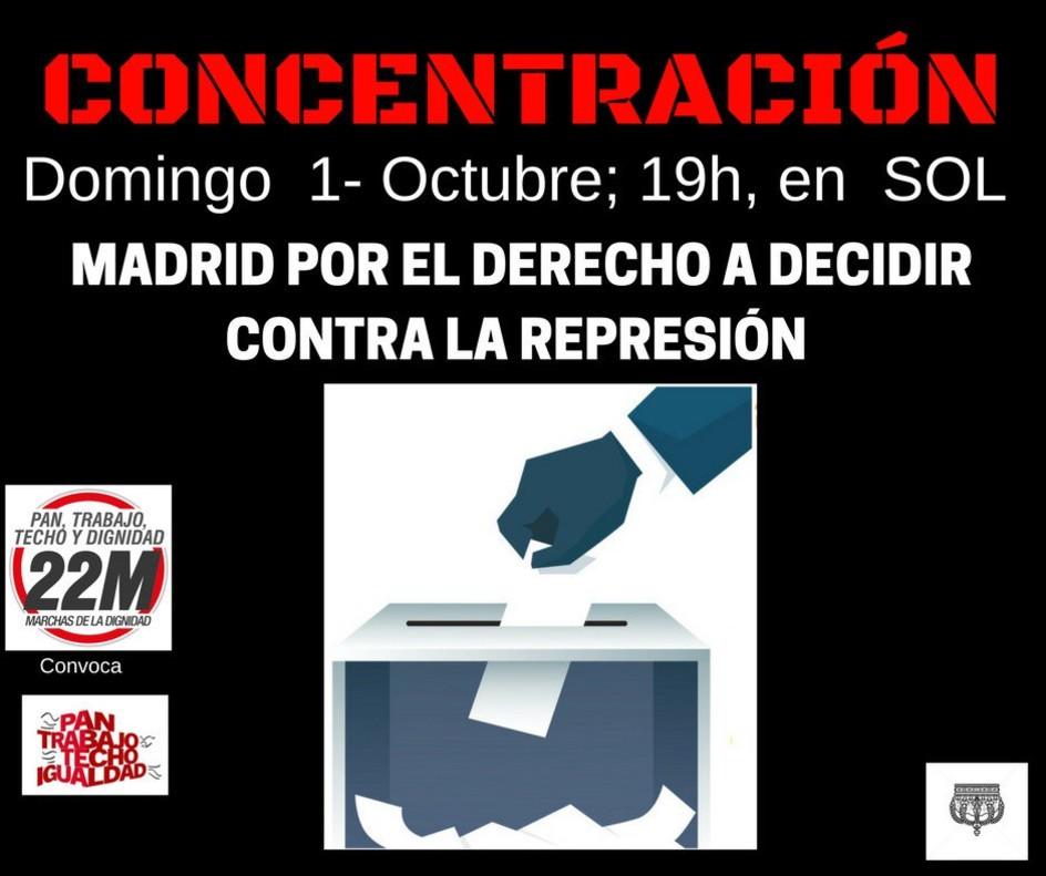 Cartel de la concentración en Madrid en apoyo al referéndum catalán.