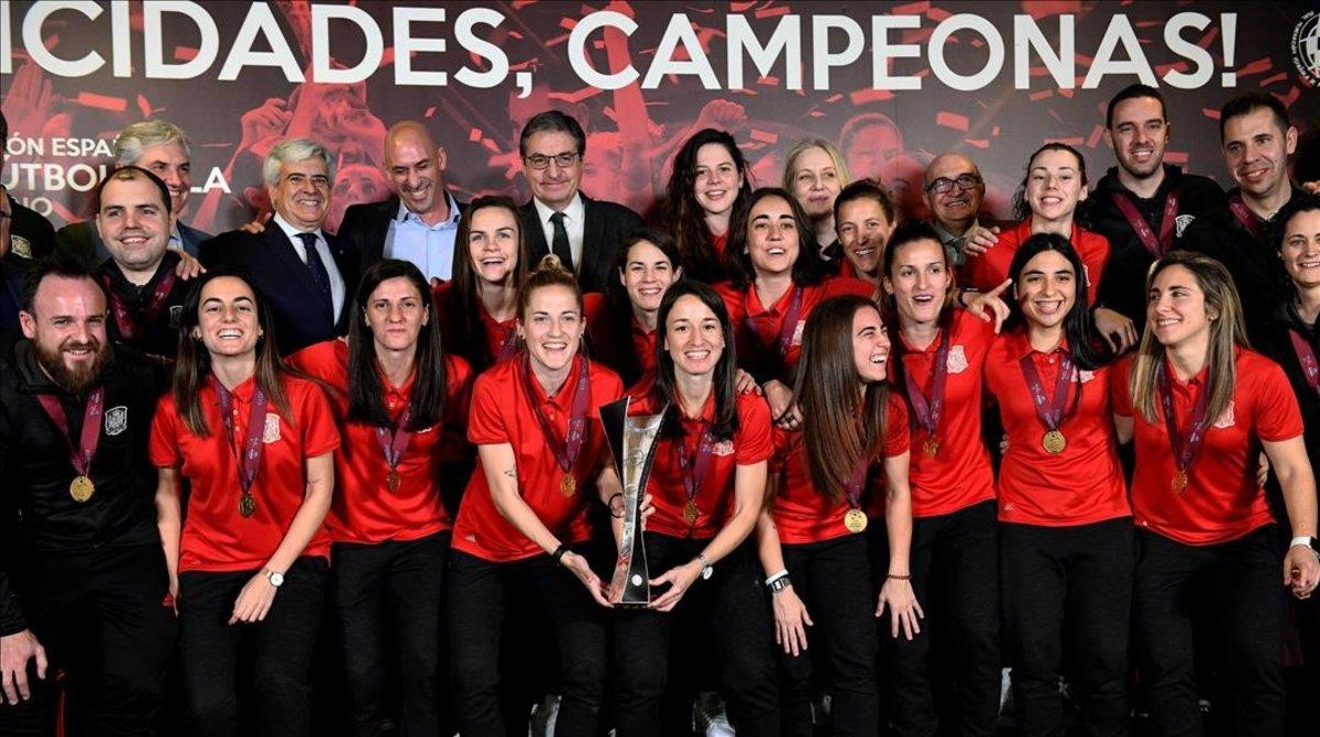 Recepción a la selección española de Fútbol Sala femenina, en febrero del 2019.