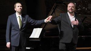 Matthias Goerne (derecha)y Leif Ove Andsnes, en el Palau de la música catalana.