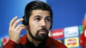 Nolito, en una conferencia de prensa con el Manchester City.