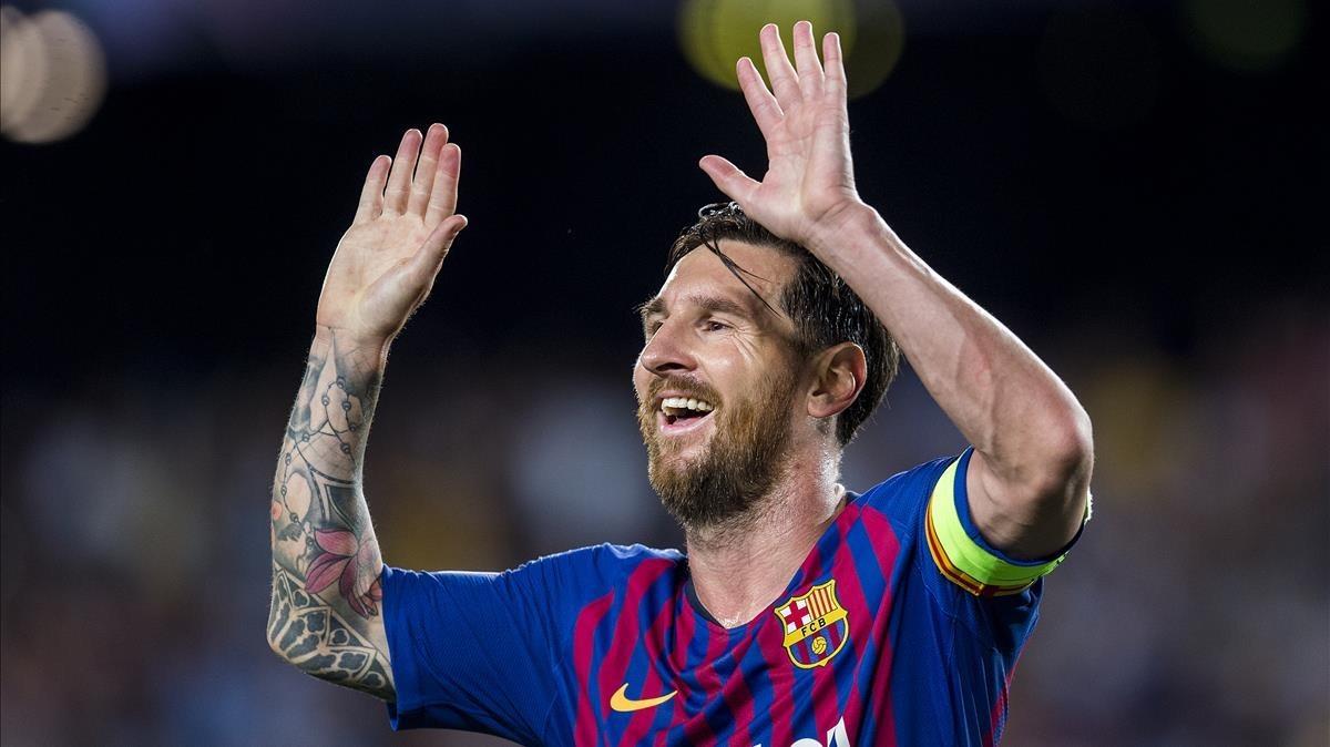 Messi celebra su segundo gol ante el PSV.