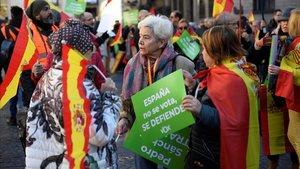 Seguidores de Vox, en la manifestación en la plaza de SantJaume, en Barcelona, este domingo.