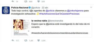 El tuit con el que la policía se involucra en el romance virtual de La vecina rubia y Jon Kortajarena.