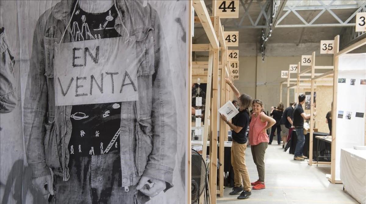 Últimos preparativos en los estands del Utopia Photo Market, el viernes por la mañana.