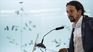 Pablo Iglesias, en el desayuno informativo de Europa Press, en Madrid.