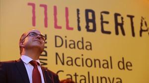 El 'conseller' de Presidència, Jordi Turull, en la celebración de la Diada en Madrid.