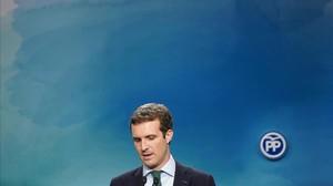 El presidente del PP, Pablo Casado, en la comparecencia de este lunes por el caso Máster.