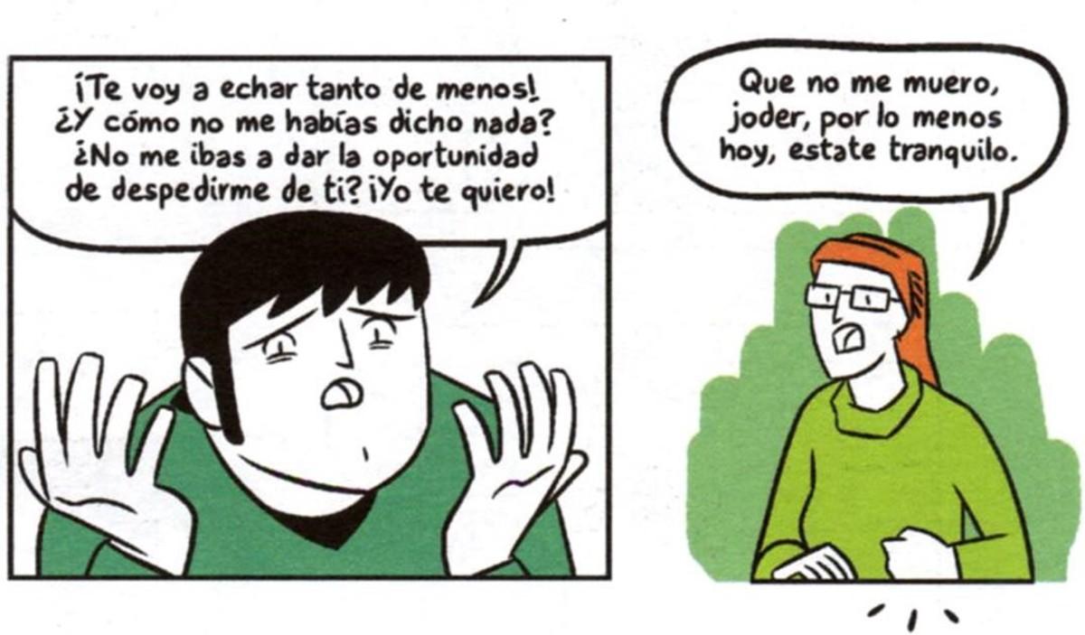 Viñetas del cómic Que no, que no me muero, de María Hernández Martí y Javi de Castro.