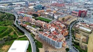 Vista aérea del barrio de la Marina, en Sants-Montjuïc.