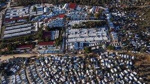 Vista aérea del campo de refugiados de Moria, en la isla griega de Lesbos.