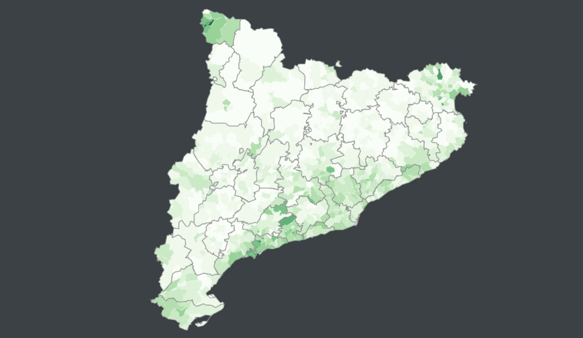 Este es el mapa del voto a Vox en Catalunya