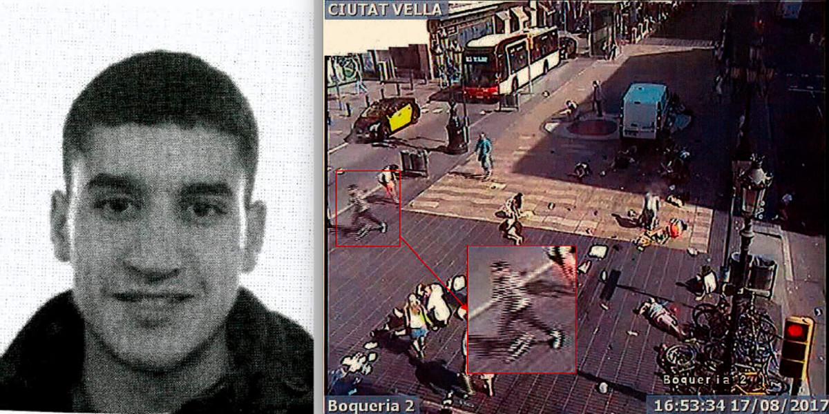 A la izquierda, Younes Abouyaqoub. A la derecha, las imágenesde su fuga que tomó una videocámara. El terrorista corre tras asesinar en La Rambla.