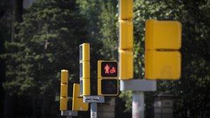 Semáforos en la avenida Diagonal de Barcelona.