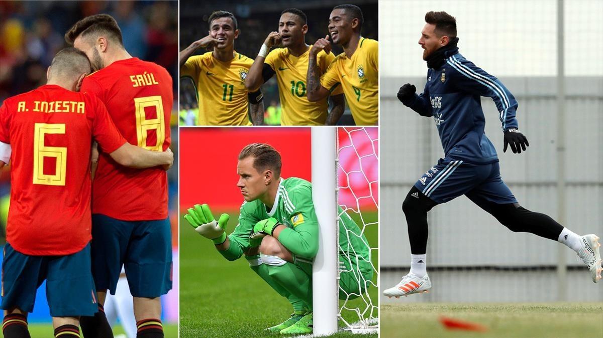 Iniesta, junto a Saúl; el tridente de Brasil (Coutinho, Neymar y Gabriel Jesús), Messi y Ter Stegen, algunos de los protagonistas del Mundial de Rusia que se inaugurará el 14 de junio en Moscú.