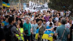Protesta vecinal del pasado agosto en la Barceloneta.