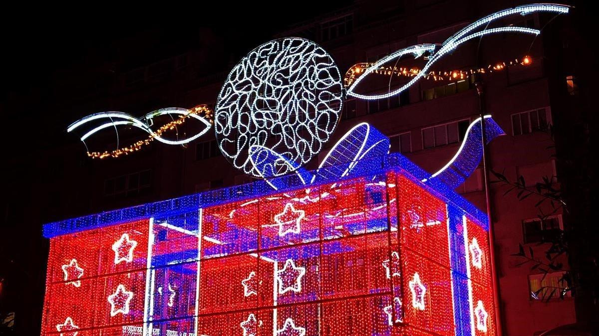 Alumbrado navideño en Vigo el año pasado.
