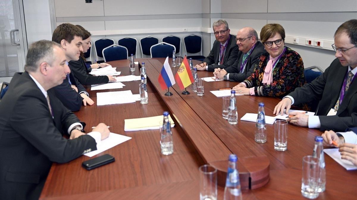 Reunión de autoridades educativas españolas y rusas, el miércoles pasado, en Moscú.