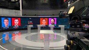 Plató de TVE en el que se celebrará el debate electoral con Sánchez, Casado, Iglesias y Rivera, el lunes 22 de abril.
