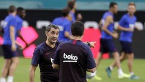 Valverde, durante el entrenamiento del Barça en Miami, antes del partido con el Nápoles.
