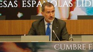 """El rey Felipe VI ha clausurado este jueves la cumbre empresarial"""" Empresas españolas liderando el Futuro"""" que ha organizado CEOE."""