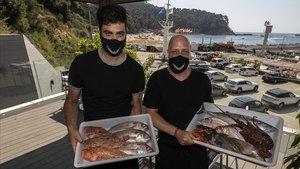 Marc Esteve y Pere Sánchez, en El Port de la Cala, de Lloret.