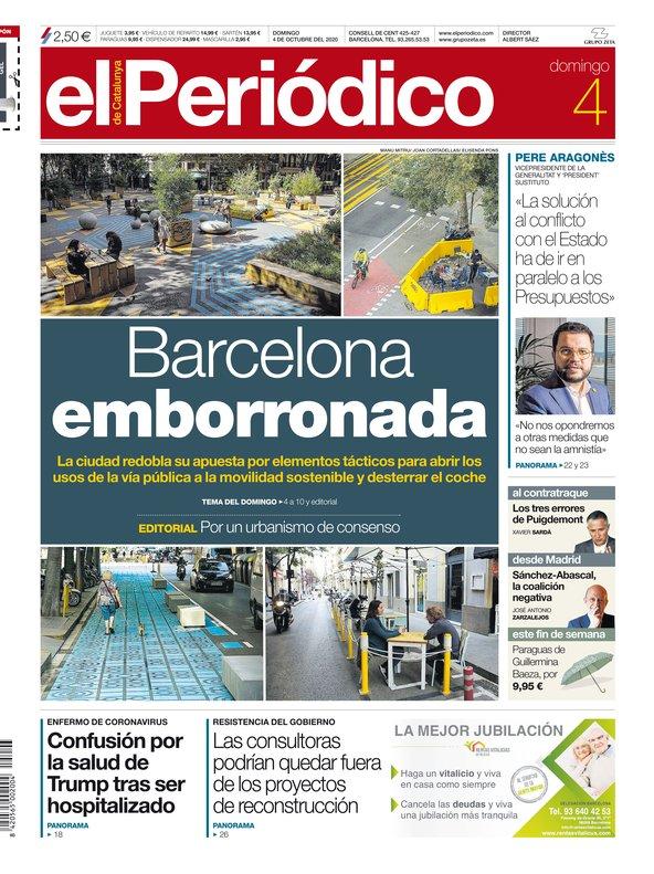 La portada de EL PERIÓDICO del 4 de octubre del 2020