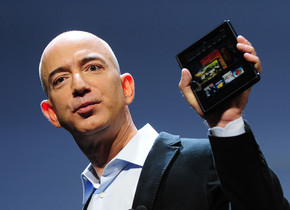 Amazon CEO Jeff Bezos introduces the new Kindle Fire tablet in New York, September 28, 2011. The Kindle Fire will be available November 15. AFP PHOTO/Emmanuel Dunand