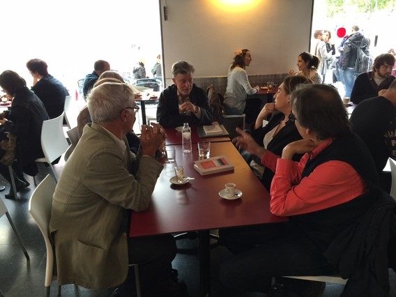 Ada Colau con Joan Ribó, Pedro Santisteve, Joan Subirats y Vicenç Villatoro, este miércoles en Barcelona