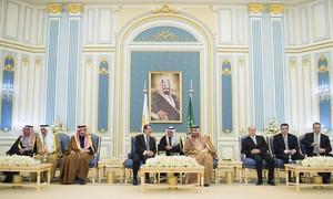 Foto del Rey Salam de Arabia Saudí en un encuentro con el presidente de Chipre Nicos Anastasiades en enero del 2018.
