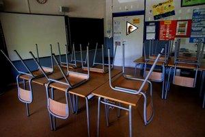 Un aula vacía en una escuela de Barcelona.