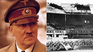 Adolf Hitler, junto a una imagen de los daños en la pista central de Wimbledon por el bombardeo nazi.