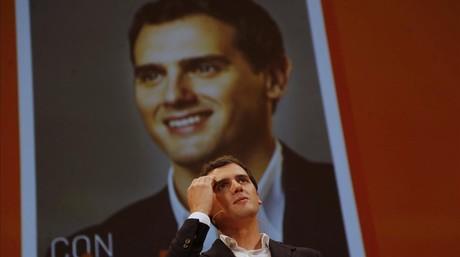 Albert Rivera, en el acto presentacion de su candidatura a la presidencia del Gobierno, en Madrid.