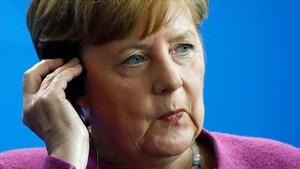 La cancillera alemana Angela Merkel en una rueda de prensa hoy jueves en Berlín.