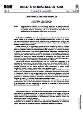 Boletín Oficial del Estado del 29 de marzo del 2020