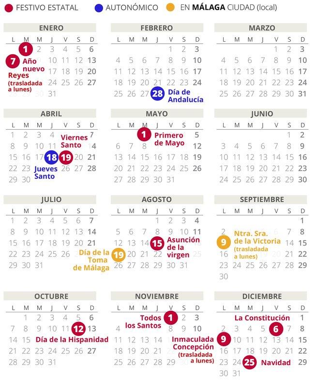 Calendario Agosto 2020 Espana.Calendario Laboral De Malaga Del 2019 Con Todos Los Festivos