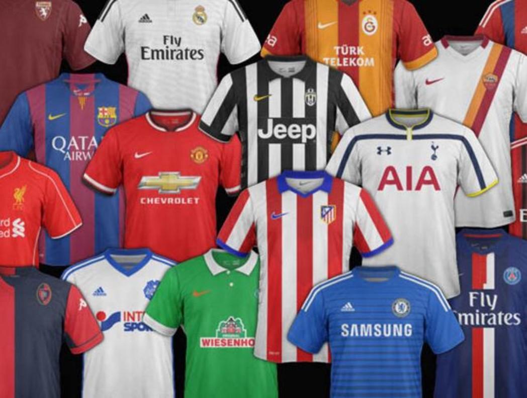 Camisetas de los principales clubs de fútbol del mundo.