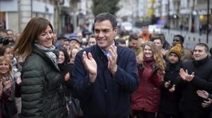 El candidato socialista, Pedro Sánchez, durante el acto de campaña que ha tenido este viernes en Vitoria.