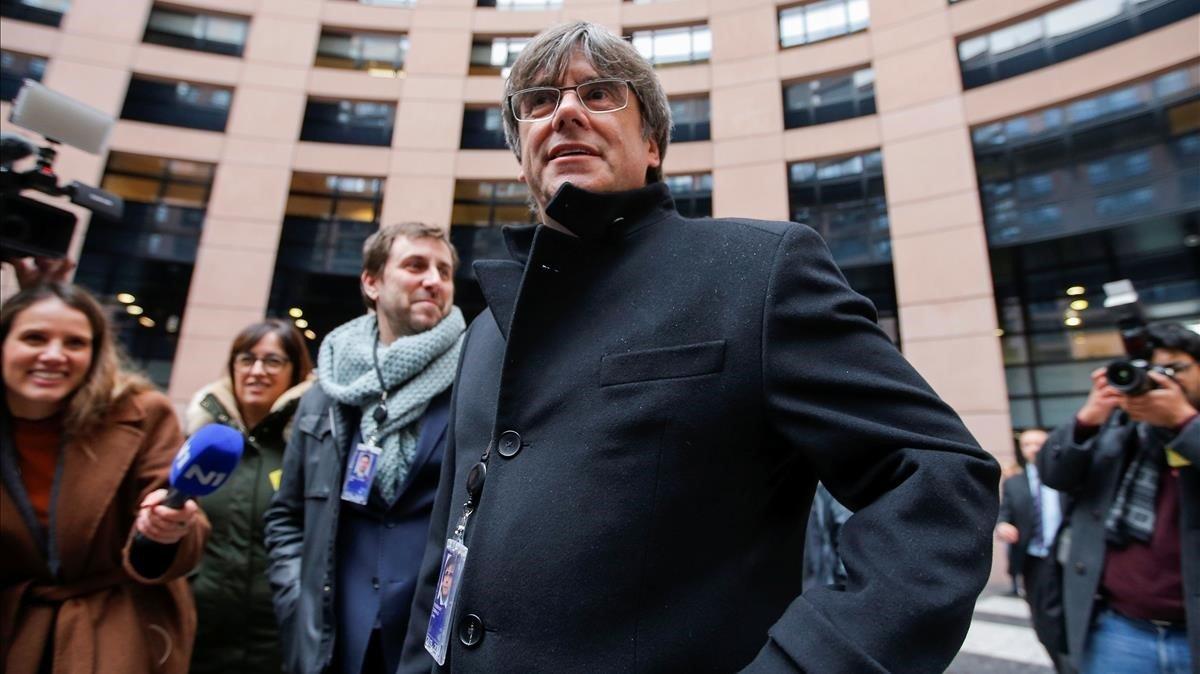 Carles Puigdemont, el lunes en el Parlamento Europeo, en Estrasburgo.